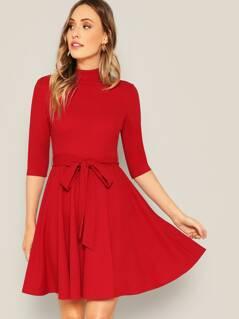 Waist Belted Mock-neck Solid Dress