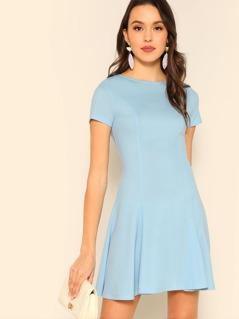 Zip Back Pleated Flowy Dress
