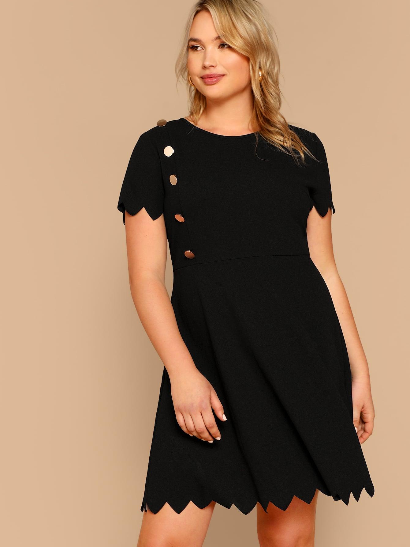 Размер плюс платье с пуговицами и оригинальной отделкой