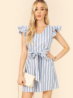 Layered Ruffle Trim Self Belted Striped Dress
