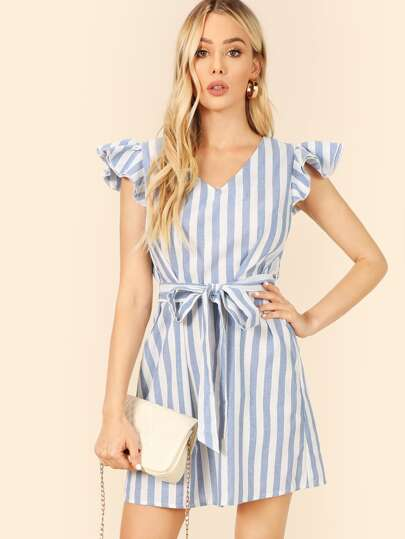 Ruffle Cap Sleeve Self Belted Striped Dress