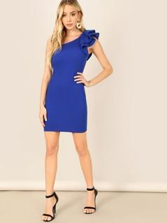 Layered Ruffle Asymmetric Shoulder Bodycon Dress