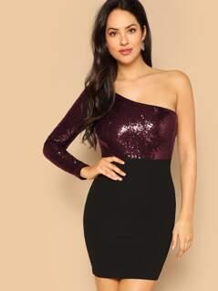 One Shoulder Contrast Sequin Bodycon Dress