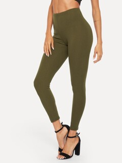 High Waist Ribbed Knit Solid Leggings