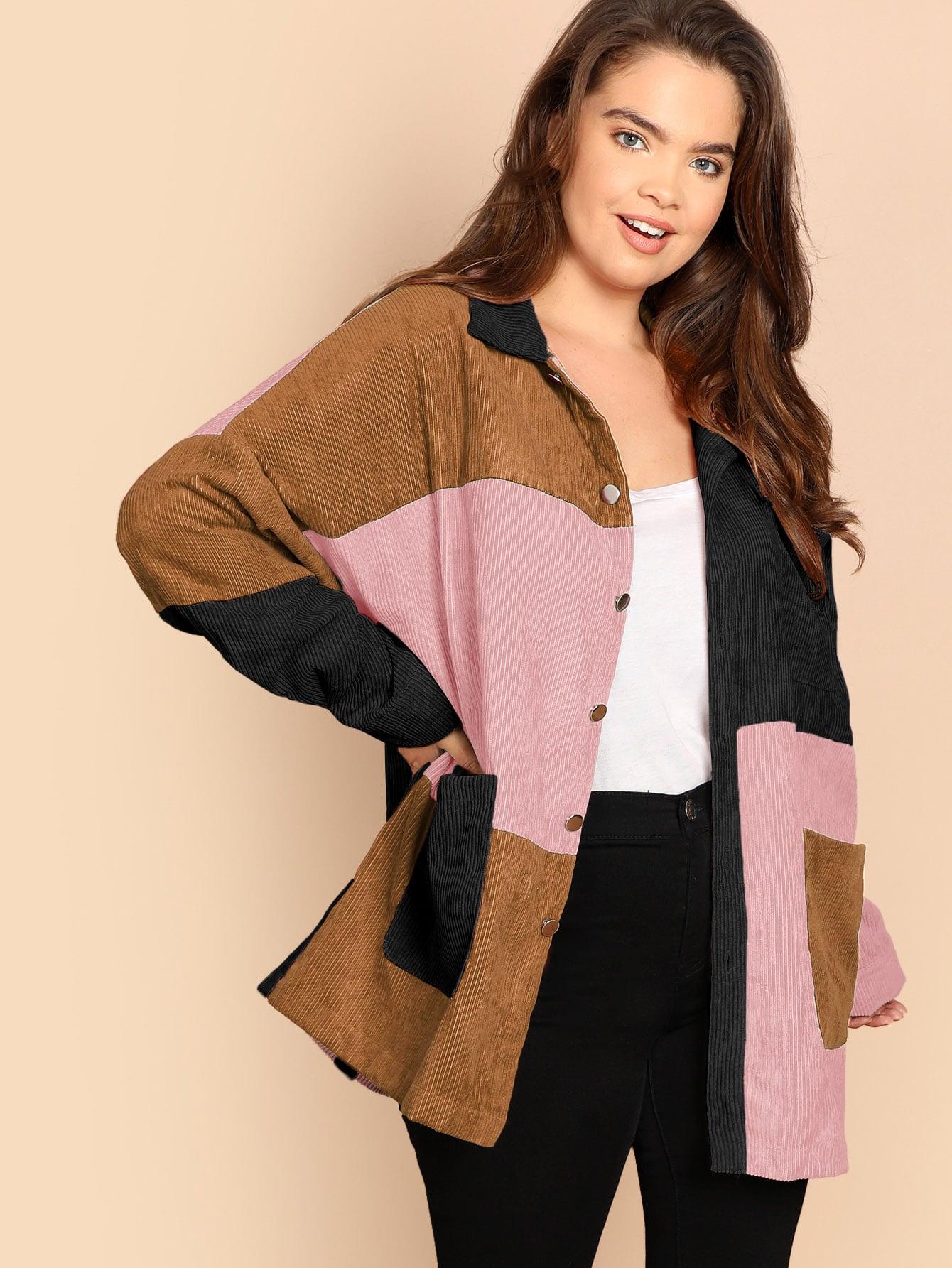 Купить Размера плюс однобортная контрастная куртка с заплатой кармана, Faith Bowman, SheIn