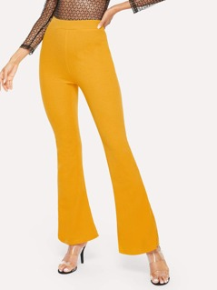 High Waist Solid Flare Leg Pants