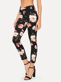 Slant Pocket Flower Print Crop Skinny Pants