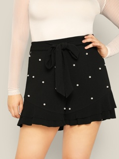 Plus Pearls Beaded Ruffle Hem Belted Shorts