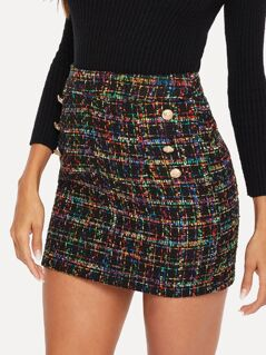 Double Button Front Tweed Skirt
