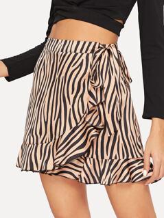 Zebra Print Tie Waist Wrap Ruffle Skirt