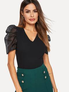 Sheer Mesh Puff Sleeve Slim Fitted Top