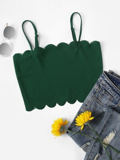 Scallop Edge Crop Fitted Cami Top