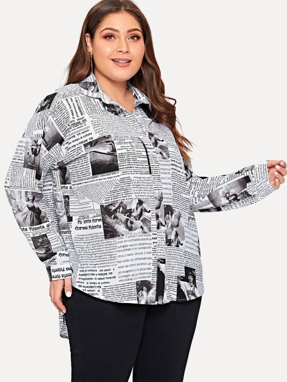 79c9c6e34 Plus Newspaper Print Curved Hem Shirt   MakeMeChic.COM