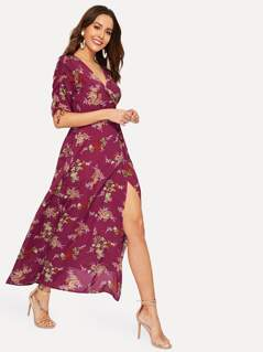 Drawstring Sleeve Split Floral Wrap Maxi Dress