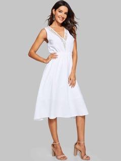 Lace Insert Surplice Midi Dress