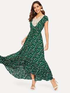 Lace Crochet Neck Ditsy Floral Maxi Dress
