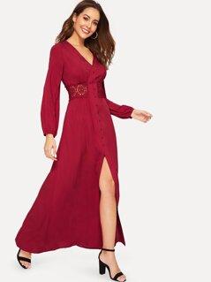 Floral Lace Insert Buttoned Slit Dress