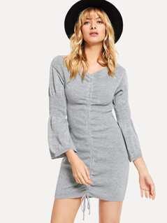 Flounce Sleeve Drawstring Knit Dress