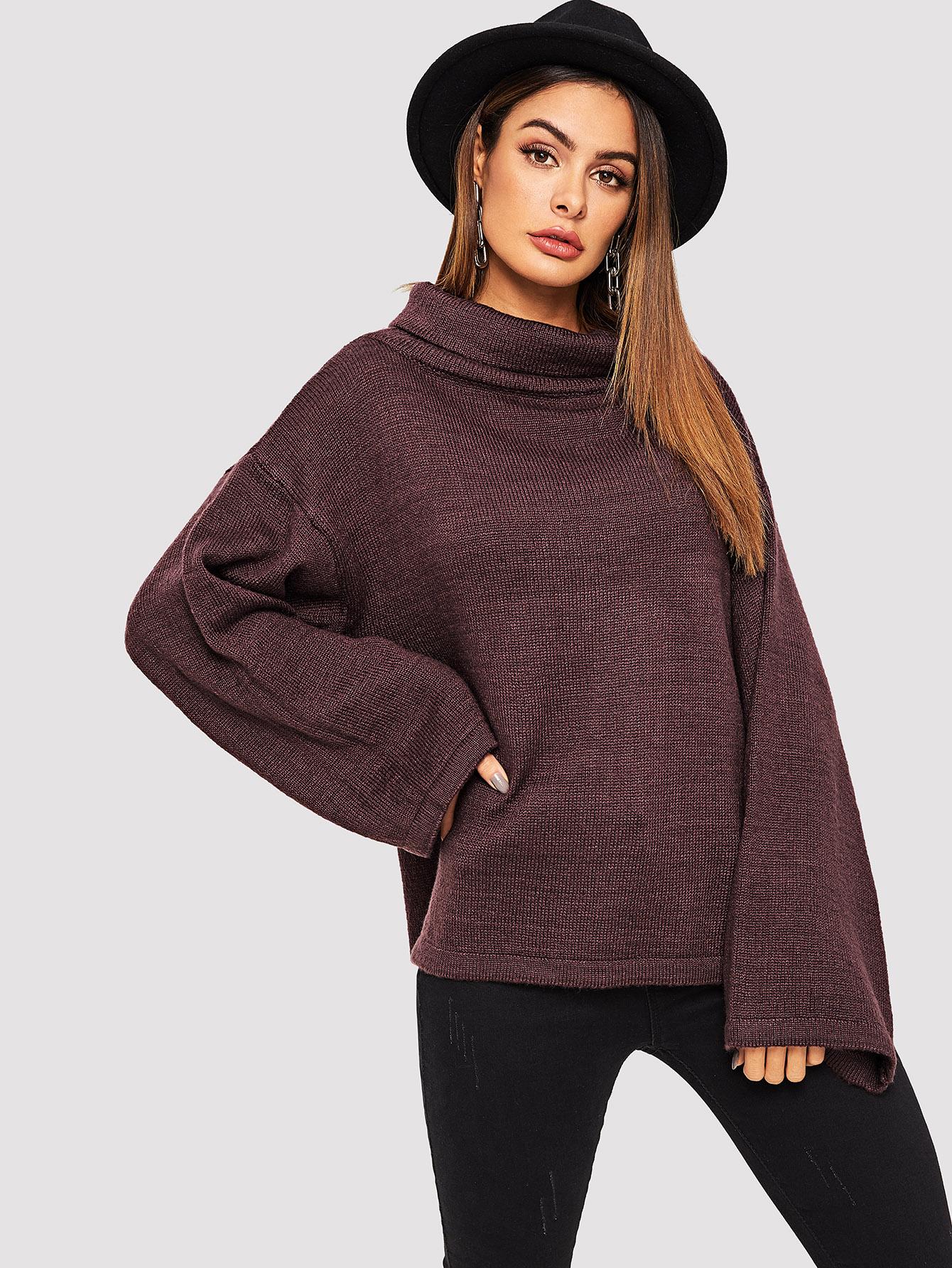 Купить Разрезный свитер с оригинальным рукавом и широким вырезом, Andy, SheIn