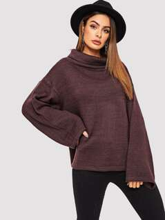 Funnel Neck Bell Sleeve Split Sweater