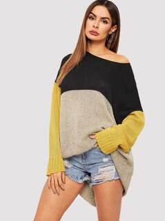 Drop Shoulder Cut-and-sew Sweater Dress