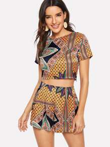 Ornate Print Crop Top & Boxed Pleated Skirt Set