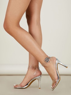 Clear Ankle Strap Slide On Metallic Heeled Sandals