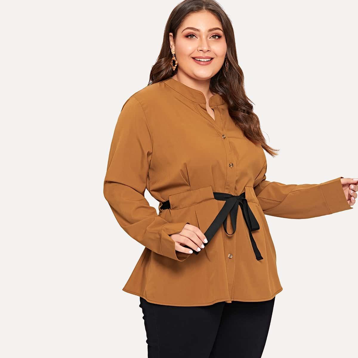 Bruin Casual Vlak Grote maten blouses Koord