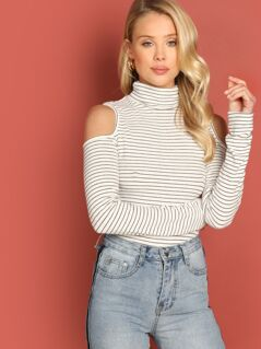 High Neck Cold Shoulder Striped Fitted Tee