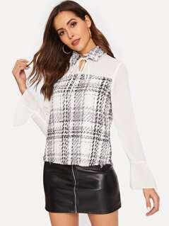 Mixed Media Drawstring Collar Shirt