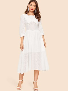 40s Square Neck Lace Eyelet Solid Dress