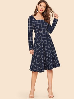 50s Square Neck Grid Fit & Flare Dress