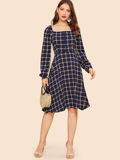 70s Square Neck Raglan Sleeve Grid Fit & Flare Dress