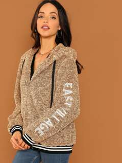 Embroidery Letter Sleeve Teddy Jacket