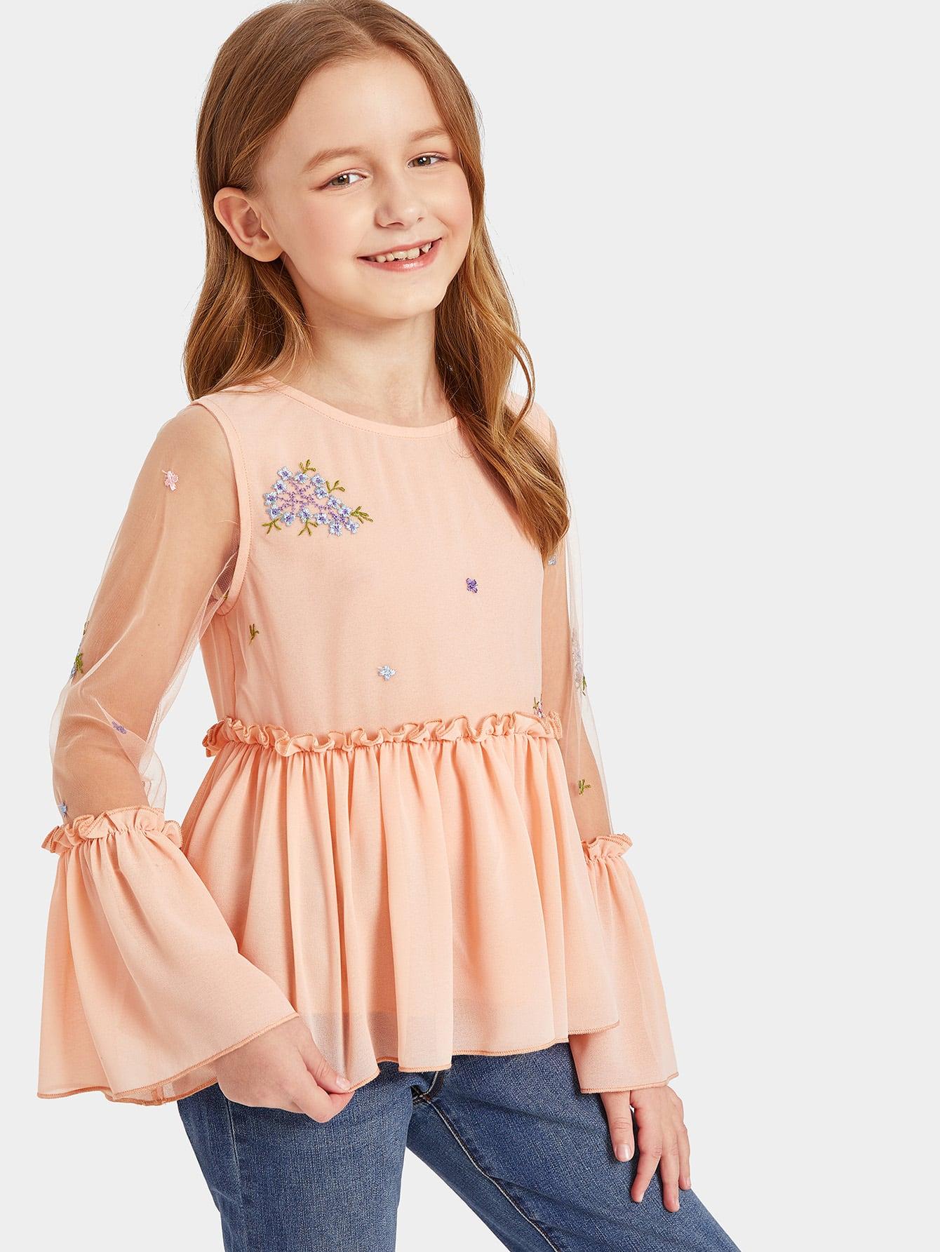 Купить Топ с сетчатыми рукавами и цветочной вышивкой для девочек, Sashab, SheIn
