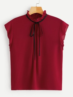 Bow Tied Frilled Neck Top