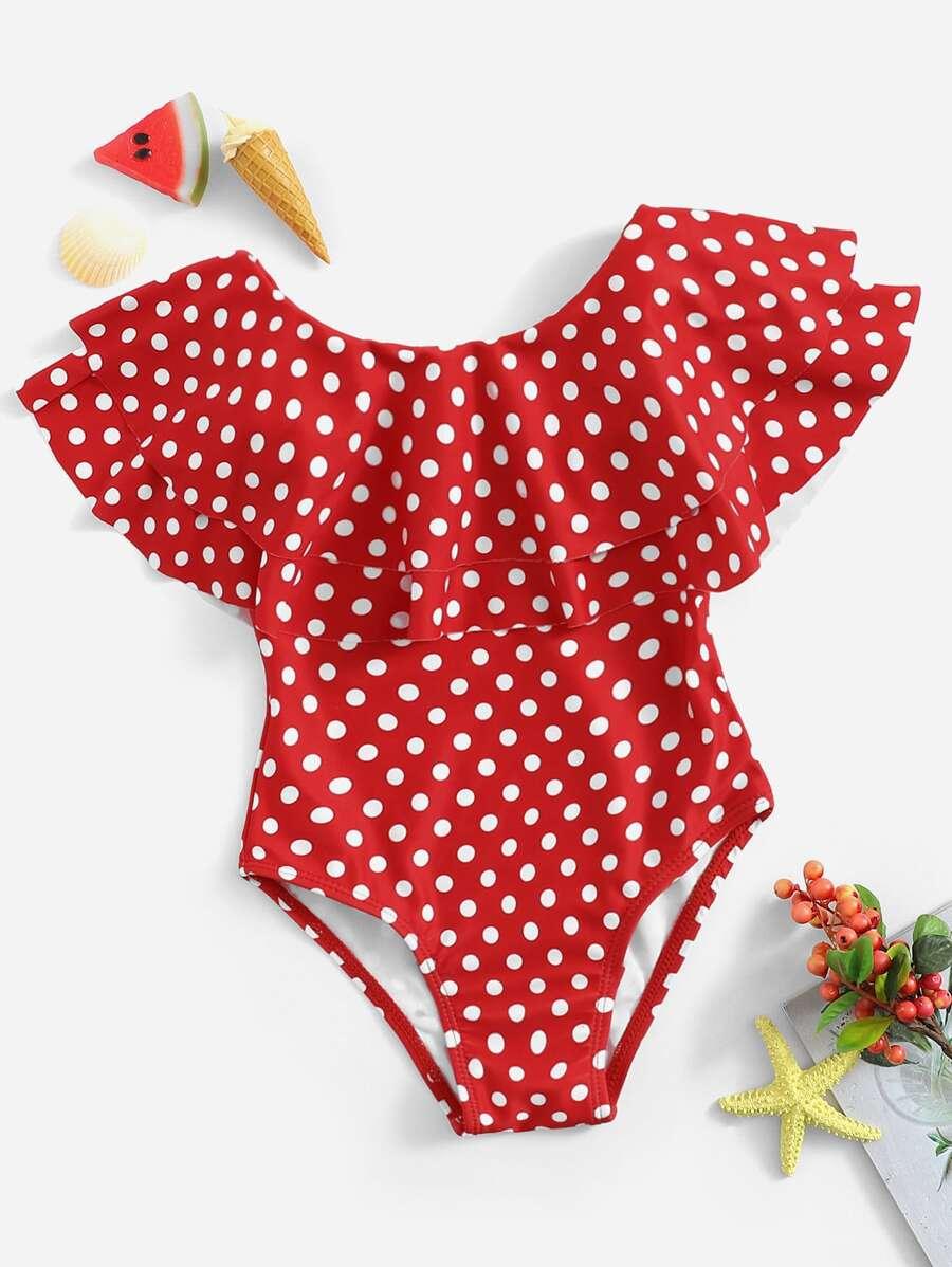 9ee3abd1d129c ملابس سباحة قطعة واحدة بطبقات و نقاط البولكا للبنات الصغار