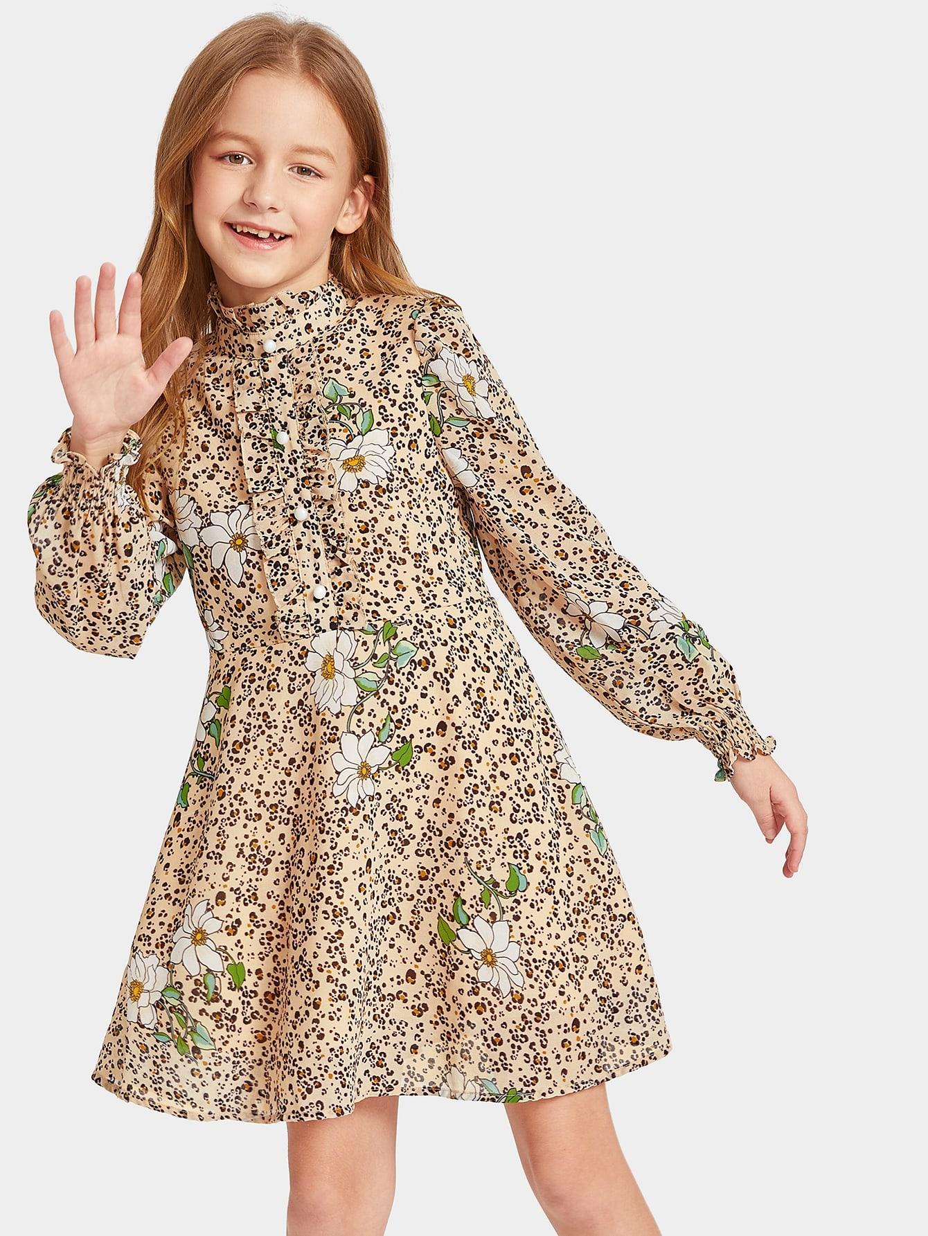 Купить Платье с леопардово-цветочным принтом рюшами и пуговицами для девочек, Sashab, SheIn
