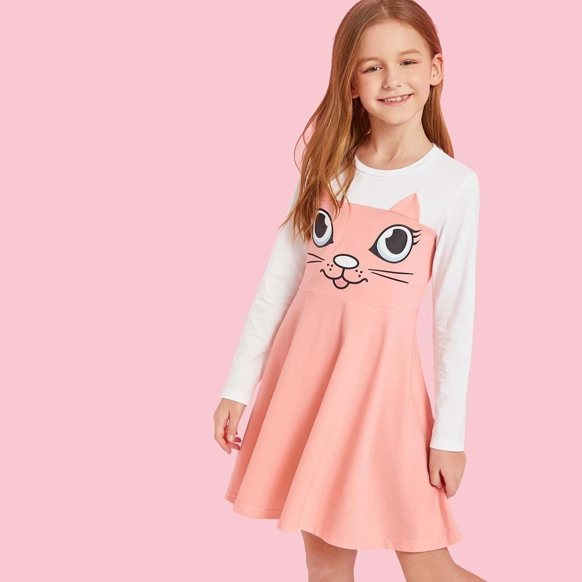 SHEIN / Mädchen A Linie Kleid mit Farbblock