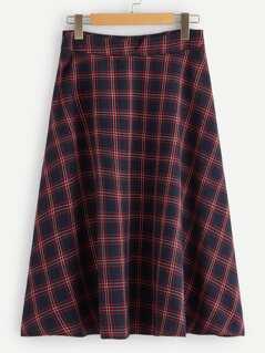 40s Notch Waist Plaid Skirt