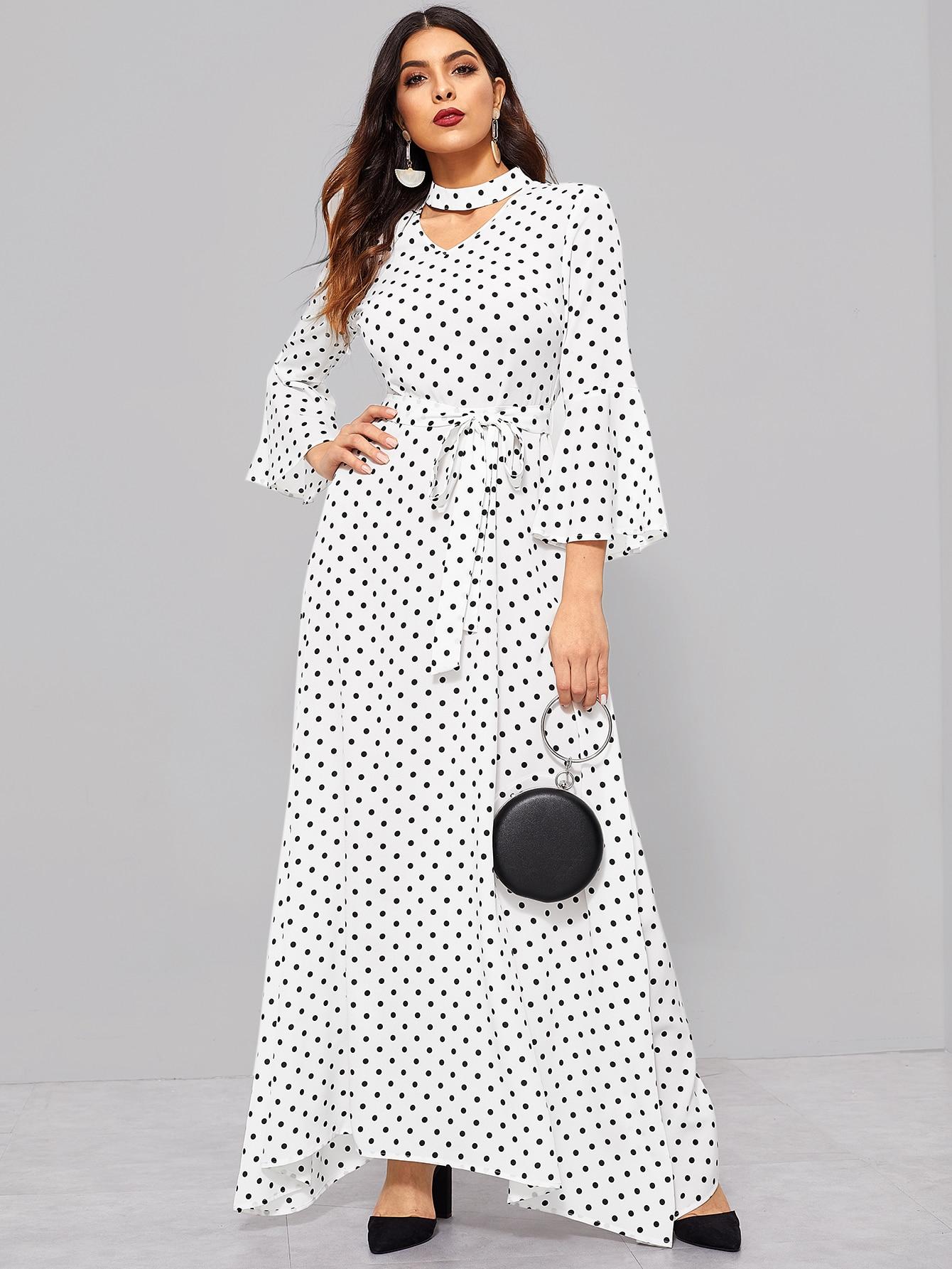 Купить Платье с v-образным вырезом и воротником чокер и оригинальным рукавом, DANI A, SheIn