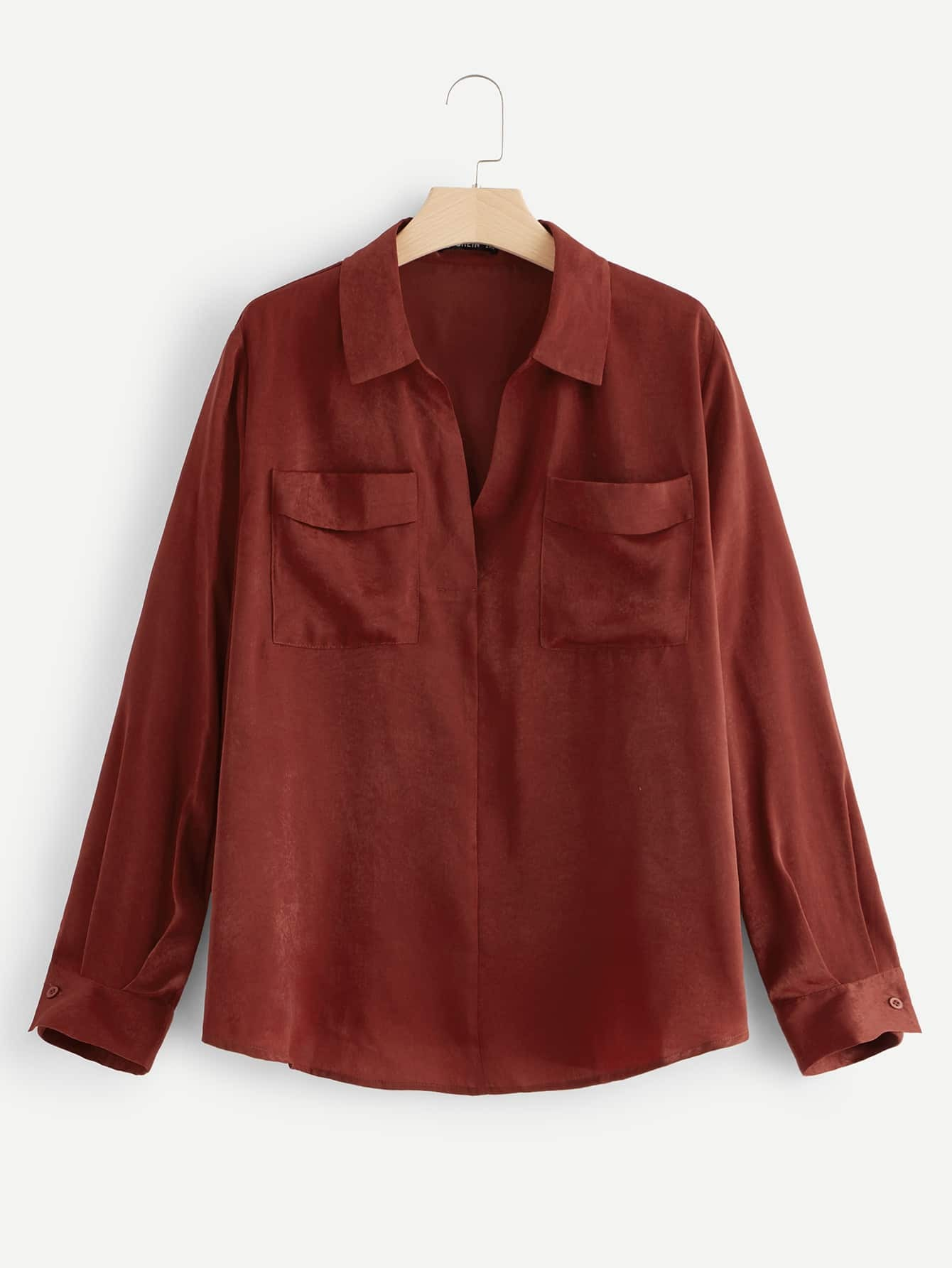 Купить Однотонная футболка с карманом размера плюс, null, SheIn