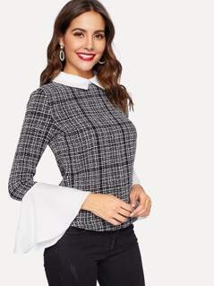 Contrast Collar and Cuff Tweed Top