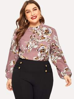 Plus Keyhole Back Flower Print Top