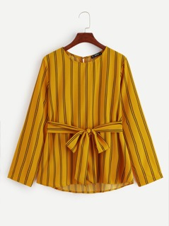 Vertical Stripe Print Belted Top