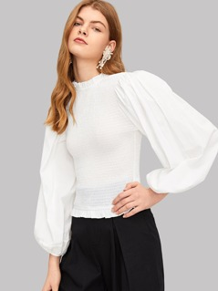 Frill Trim Bishop Sleeve Shirred Blouse