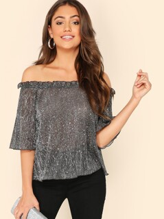 Frilled Off Shoulder Glitter Top