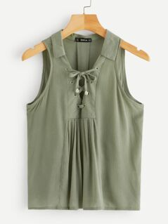 Lace-up Neck Pleated Back Top