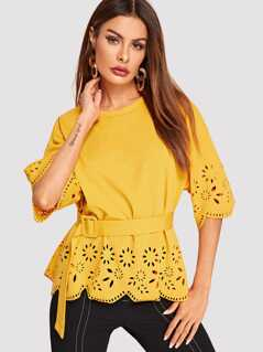 Scalloped Laser Cut Belted Top