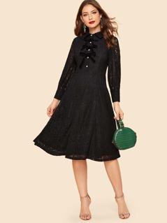 Velvet Bow Button Front Lace Dress
